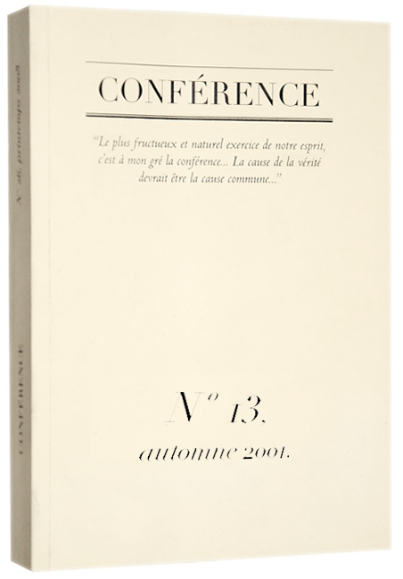 CONFÉRENCE, N° 13, automne 2001.