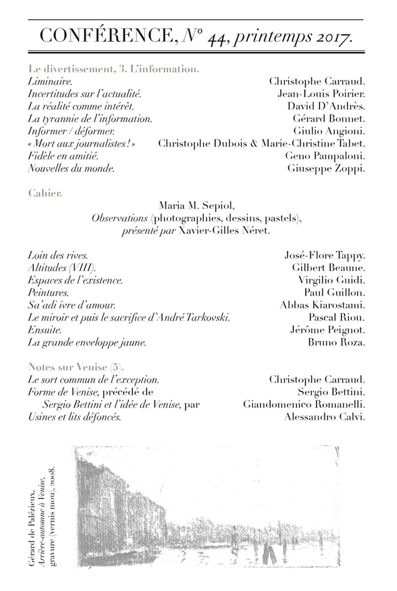 Conférence n° 44, sommaire 01
