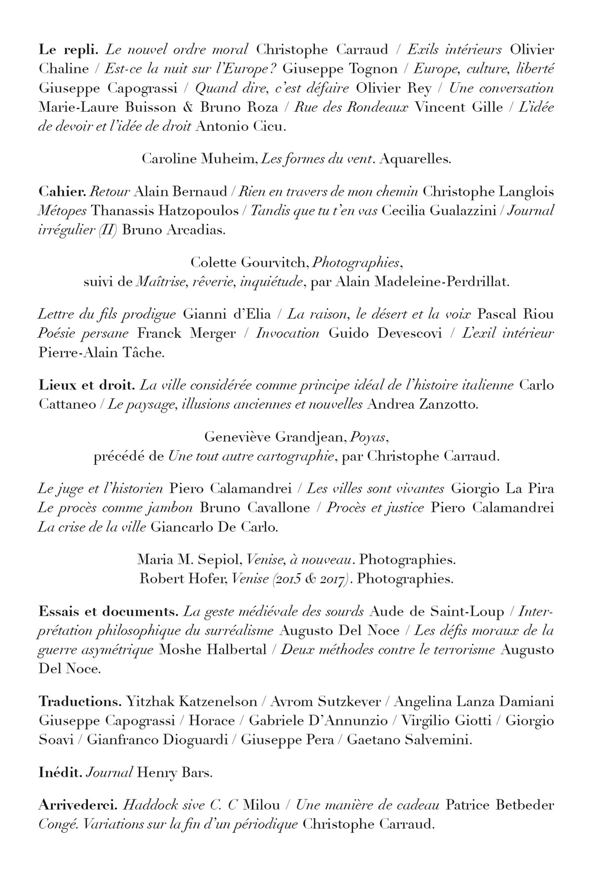 Sommaire Revue conference n°47 Page 4