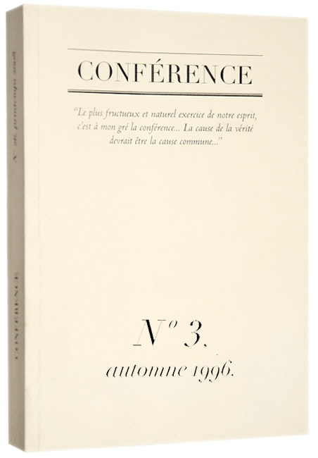 CONFÉRENCE, N° 3, automne 1996.
